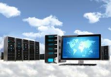 Έννοια κεντρικών υπολογιστών υπολογισμού σύννεφων