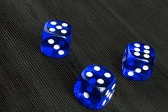 έννοια κινδύνου - το παιχνίδι χωρίζει σε τετράγωνα στο μαύρο ξύλινο υπόβαθρο Παίζοντας ένα παιχνίδι με χωρίστε σε τετράγωνα Η μπλ Στοκ Εικόνα