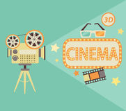 Έννοια κινηματογράφων στο αναδρομικό ύφος Στοκ εικόνες με δικαίωμα ελεύθερης χρήσης