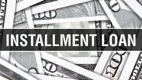 Έννοια κινηματογραφήσεων σε πρώτο πλάνο δανείου δόσης Αμερικανικά χρήματα μετρητών δολαρίων, τρισδιάστατη απόδοση Δάνειο δόσης στ απεικόνιση αποθεμάτων