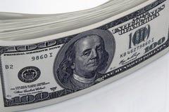 Έννοια κινηματογραφήσεων σε πρώτο πλάνο δολαρίων Αμερικανικά χρήματα μετρητών δολαρίων δολάριο εκατό τραπεζογραμματίων ένα Στοκ Φωτογραφία