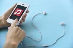 Έννοια κινητικότητας ψυχαγωγίας Playlist τραγουδιού μουσικής Στοκ Εικόνες