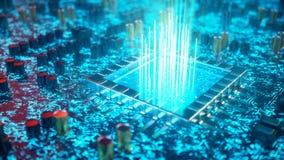 Έννοια ΚΜΕ τεχνητής νοημοσύνης AI Εκμάθηση μηχανών Επεξεργαστές κεντρικών υπολογιστών στον πίνακα κυκλωμάτων με φωτεινό απεικόνιση αποθεμάτων