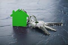 Έννοια κτημάτων με το βασικό, πράσινο keychain με το σύμβολο σπιτιών, ecotechnologies Στοκ Εικόνα