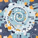 Έννοια κυκλοφοριακής συμφόρησης αυτοκινήτων - ελεύθερο σχέδιο Στοκ Εικόνα