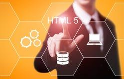 Έννοια κωδικοποίησης ανάπτυξης Ιστού γλώσσας προγραμματισμού HTML Στοκ Εικόνες