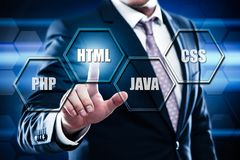 Έννοια κωδικοποίησης ανάπτυξης Ιστού γλώσσας προγραμματισμού HTML Στοκ Εικόνα