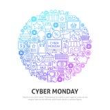 Έννοια κύκλων Δευτέρας Cyber Στοκ φωτογραφία με δικαίωμα ελεύθερης χρήσης