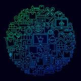 Έννοια κύκλων εικονιδίων παράδοσης διοικητικών μεριμνών απεικόνιση αποθεμάτων