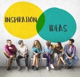 Έννοια κύκλων κινήτρου ιδεών έμπνευσης στοκ εικόνα