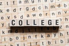 Έννοια λέξης κολλεγίου στοκ εικόνες
