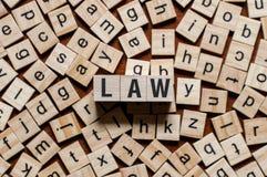Έννοια λέξης νόμου στοκ φωτογραφίες