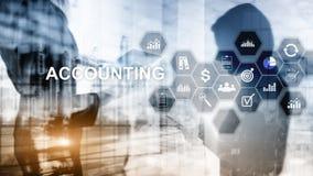 Έννοια λογιστικής, επιχειρήσεων και χρηματοδότησης στην εικονική οθόνη διανυσματική απεικόνιση