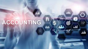 Έννοια λογιστικής, επιχειρήσεων και χρηματοδότησης στην εικονική οθόνη ελεύθερη απεικόνιση δικαιώματος