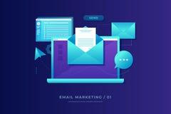 Έννοια μάρκετινγκ ηλεκτρονικού ταχυδρομείου Lap-top με το φάκελο, το ανοικτά ηλεκτρονικό ταχυδρομείο και το μήνυμα στην οθόνη διανυσματική απεικόνιση