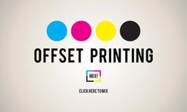 Έννοια μέσων βιομηχανίας χρώματος μελανιού όφσετ διαδικασίας εκτύπωσης διανυσματική απεικόνιση