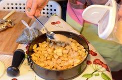 Έννοια μαγειρέματος και σπιτιών - κλείστε επάνω των θηλυκών χεριών ζυμώνοντας τη ζύμη στο σπίτι στοκ φωτογραφία