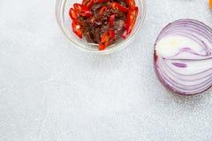 Έννοια μαγειρέματος - σύνολο υγιών προϊόντων στοκ φωτογραφία