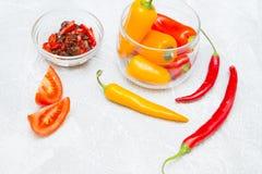 Έννοια μαγειρέματος - σύνολο υγιών προϊόντων στοκ εικόνα