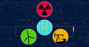 Έννοια μεταλλείας Bitcoin με την πυρηνική ενέργεια ανεμοστροβίλων και πετρελαίου απεικόνιση αποθεμάτων