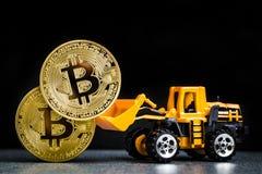 Έννοια μεταλλείας cryptocurrency Bitcoin Τεχνολογία Blockchain MI στοκ εικόνες με δικαίωμα ελεύθερης χρήσης