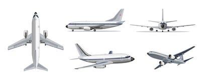 Έννοια μεταφορών αερογραμμών Διανυσματικό αεροπλάνο με τα κίτρινα και μπλε λωρίδες στο άσπρο υπόβαθρο Αεροπλάνο στην κορυφή, πλευ απεικόνιση αποθεμάτων