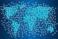 Έννοια μεταφορών με τις πτήσεις αεροπλάνων σε όλο τον κόσμο Στοκ φωτογραφία με δικαίωμα ελεύθερης χρήσης