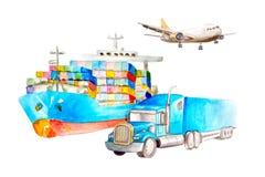 Έννοια μεταφορών φορτίου Watercolor από το σκάφος, το αεροπλάνο και το φορτηγό για τις επαγγελματικές κάρτες σε ένα άσπρο υπόβαθρ ελεύθερη απεικόνιση δικαιώματος