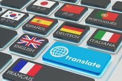 Έννοια μεταφράσεων ξένων γλωσσών, σε απευθείας σύνδεση μεταφραστής Στοκ Εικόνες