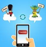 Έννοια μεταφράσεων υπολογισμού σύννεφων Στοκ Εικόνα
