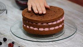 Έννοια με τα ανθρώπινα ίχνη Κατασκευή του κέικ σοκολάτας με την πλήρωση θερινών μούρων φιλμ μικρού μήκους