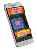 Έννοια με την αναδρομική μηχανή παιχνιδιών arcade στον κινητό Στοκ Εικόνες