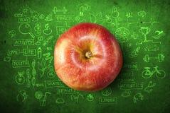 Έννοια με το μήλο και doodles Στοκ εικόνα με δικαίωμα ελεύθερης χρήσης