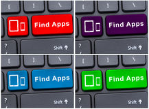 Έννοια μηχανών αναζήτησης με το κουμπί ευρημάτων apps Στοκ εικόνα με δικαίωμα ελεύθερης χρήσης