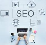 Έννοια μηχανών αναζήτησης HTML Webinar ιστοσελίδας Στοκ φωτογραφία με δικαίωμα ελεύθερης χρήσης