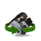 Έννοια μηχανών μηχανών αυτοκινήτων με τα πράσινα βέλη από τη χλόη Έννοια ανακύκλωσης λευκό κολοκύθας απομόνωσης αποκριών Στοκ Εικόνες