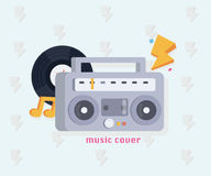 Έννοια μουσικής με τα εργαλεία μουσικής στο επίπεδο ύφος: Boombox, αρχείο, σημειώσεις επίσης corel σύρετε το διάνυσμα απεικόνισης διανυσματική απεικόνιση