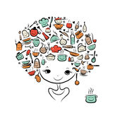 Έννοια νεράιδων κουζινών, θηλυκό πορτρέτο για το σας Στοκ Φωτογραφία