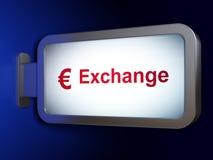 Έννοια νομίσματος: Ανταλλαγή και ευρώ στο υπόβαθρο πινάκων διαφημίσεων στοκ εικόνες