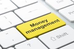 Έννοια νομίσματος: Διαχείριση χρημάτων στο υπόβαθρο πληκτρολογίων υπολογιστών Στοκ Φωτογραφίες
