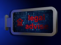 Έννοια νόμου: Νομικός συμβουλεψτε και δικαστήριο για το υπόβαθρο πινάκων διαφημίσεων διανυσματική απεικόνιση