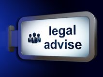 Έννοια νόμου: Νομικός συμβουλεψτε και επιχειρηματίες για το υπόβαθρο πινάκων διαφημίσεων απεικόνιση αποθεμάτων