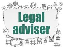 Έννοια νόμου: Νομικός σύμβουλος στο σχισμένο υπόβαθρο εγγράφου απεικόνιση αποθεμάτων