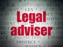 Έννοια νόμου: Νομικός σύμβουλος στο υπόβαθρο εγγράφου ψηφιακών στοιχείων διανυσματική απεικόνιση