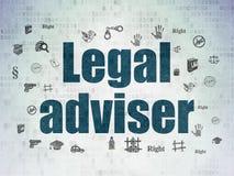 Έννοια νόμου: Νομικός σύμβουλος στο υπόβαθρο εγγράφου ψηφιακών στοιχείων απεικόνιση αποθεμάτων