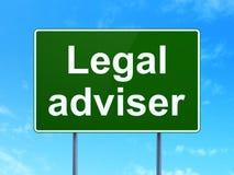 Έννοια νόμου: Νομικός σύμβουλος στο υπόβαθρο οδικών σημαδιών απεικόνιση αποθεμάτων