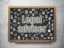 Έννοια νόμου: Νομικός σύμβουλος στο υπόβαθρο σχολικών πινάκων διανυσματική απεικόνιση