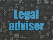 Έννοια νόμου: Νομικός σύμβουλος στο υπόβαθρο τοίχων διανυσματική απεικόνιση