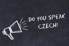 Έννοια ξένων γλωσσών εκμάθησης Το σύμβολο κιμωλίας του μεγάφωνου με τη φράση εσείς μιλά τα τσέχικα διανυσματική απεικόνιση