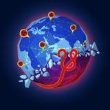 Έννοια ξεσπάσματος ιών Ebola Στοκ Φωτογραφία